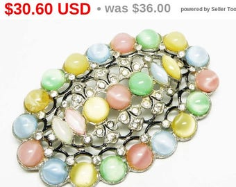 Spring Sale Vintage Pastel Oval Brooch - Art Deco Pin with Pastel Moonglow Glass Cabs and Rhinestones