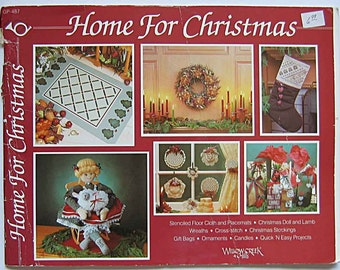 Vintage 80's Home for Christmas Craft Book Willow Creek Hills GP-487, Gift Bags, Ornaments, Wreaths, Stockings, Doll, Cross Stitch, Bear
