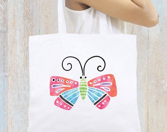 Personalized Tote Bag, Beach Tote, Butterfly Tote Bag, Monogrammed Tote Bag, Zipper Tote Bag, Girly Tote Bag, Bridal Gift, Birthday Gift