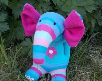 sock elephant, plush elephant, striped elephant, sock animal, sock creature, blue elephant, elephant doll, stuffed elephant