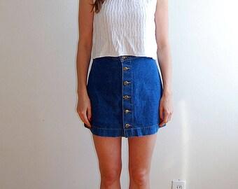 vintage button up denim mini skirt size small