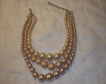Vintage Graduated Triple 3 Strand Costume Fake Pearls Necklace Hong Kong Bow Closure