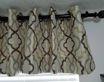 Elegant, Contemporary valance with copper grommets, in bone, champagne and gold