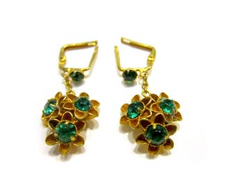 Vintage Green Rhinestone Pierced Earrings Flower Jewelry Gold Gift for Her Gift for Mom Jewelry Under 20 May Birthstone