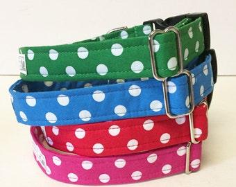 Polka Dot Adjustable Dog Collar - Made to Order -