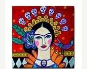 50% Off Today- Day of the Dead Frida Mexican Folk Art Tile  Ceramic Coaster Tile  Frida Kahlo Sugar Skulls (HG361)
