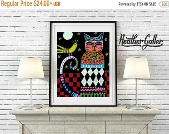 50% Off Today- Cat art Art Print Poster by Heather Galler (HG258)
