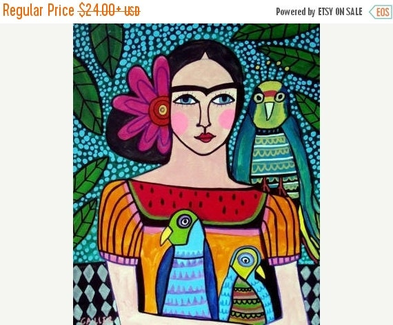 50% Off Today- Mexican Folk Art Frida Kahlo Day of the Dead art  Art Print Poster by Heather Galler