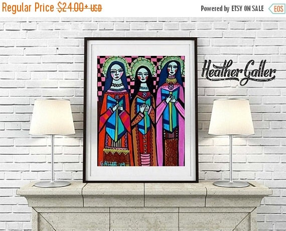 50% Off Today- Mexican Folk Art - Primitive Angel Folk Art Mexican Art Poster Print of painting by Heather Galler of Painting