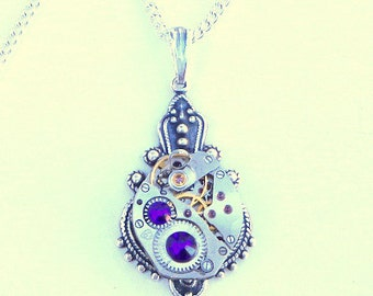Steampunk Necklace, Vintage Watch Movement, Sapphire Blue Swarovski Crystals, Antiqued Stamping, Neo Victorian, Edwardian Fantasy, OOAK