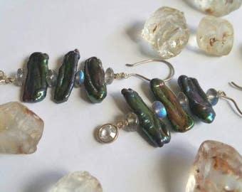 Ocean Lustre Peacock Biwa Pearls Rainbow Labradorite Swarovski Crystals Drop Chandelier Earrings