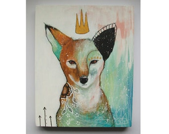 Original fox painting whimsical boho mixed media abstract art painting on wood panel 8x10 inches - Committed to my journey