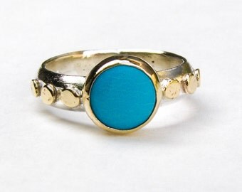 Unique Engagement Ring,Turquoise Ring, Gold and Silver Engagement Ring, Wedding Ring, Blue Gemstone Ring, Birthday gift, Anniversary Ring