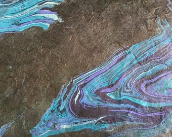 Oil Spill - Extra Large Hand Marbled Lokta Art Paper Gray Bluea and Lavender on Deep Plum Paper