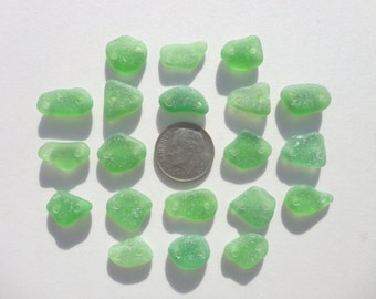 Drilled Genuine Hawaii Beach Sea Glass 20 Double Drilled Green Beads Jewelry Quality 12-16mm In Length