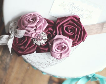 Burgundy Vintage Beauty - Burgundy and Mauve Satin Rosettes Headband with Gold Embellishment -Peek-a-boo Birdcage Veiling