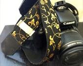 Kimono / Strap / Camera Strap / BK969 Beautiful Black & Gold Japanese Pattern Camera Strap Suits for DSLR / SLR