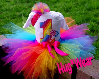 Custom Rainbow Lollipop Candyland Birthday Shirt + Tutu Outfit (any age) Candy Land