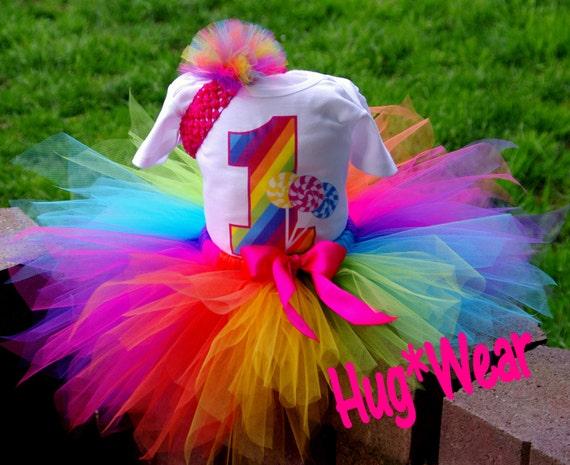 Custom Rainbow Lollipop Candyland Birthday Shirt + Tutu Outfit (any age) Candy Land