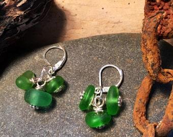 Green Sea Glass Charm Earrings