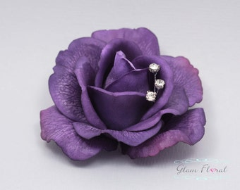 Purple Real Touch Rose Hair Clip/ Brooch Rhinestones, Wedding Hair Fascinator, Hair Head Piece, Real Touch Flowers. Caroline Rose Collection