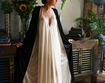 Reversible Satin Robe Two Tone Two Color Bridal Robe Black Wedding Robe Champagne Satin Robe Bridal Lingerie Wedding Lingerie Sleepwear
