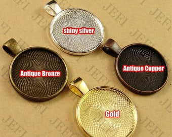 Wholesale 50 Pendant Trays- 20mm Round Bezel Cup Cabochon Mountings W/ Loop, Bronze/ Antique Silver/ Silver/ Gold- HA3702