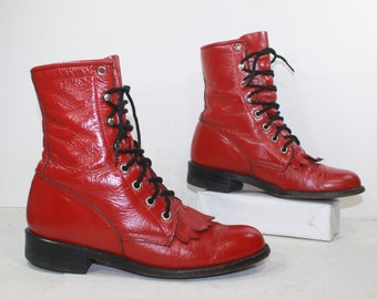 Vintage grunge granny combat barn boot riding womens red justin cowboy western oxford pixie lace up 6 M B