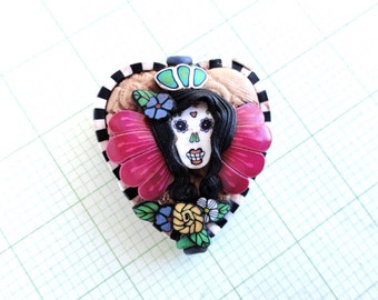 "Double sided ""Day of the dead pin up Catrina"" focal bead by Marie Segal, 2014"