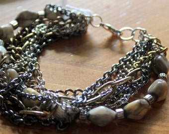 Multi-Strand Bracelet with Varigated Agate Kernel Beads