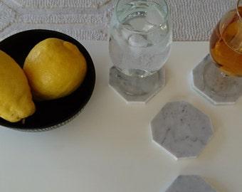 Marble coasters (6) - Carrara - Octagonal - Set - 10cm x 10cm x 1cm