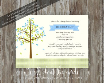"Baby Shower invitations - Digital file ""Blue - Tree of Love"" design"