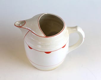 Vintage Pitcher Ceramic cream and red pitcher