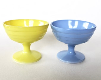 Vintage 1950s Hazel Atlas Moderntone Platonite Vintage Federal Glass Sherbert Dishes Set of Two Blue and Yellow