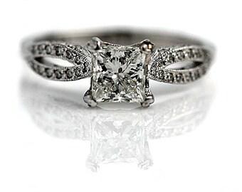 Tacori Princess Cut Engagement Ring Tacori Classic Ring 1.36ctw GIA Vintage Princess Cut Diamond Ring 18 Kt White Gold Tacori Ring Size 5.75