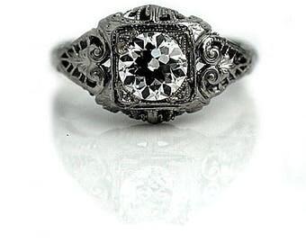 Antique Engagement Ring Art Deco Engagement Ring 94ctw Antique Solitaire Diamond Ring 18K White Gold Vintage European Cut Diamond Ring!