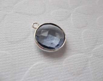 Iolite Quartz Coin Drop - Light Purple Charm - Silver Plated Brass Bezel - Genuine Gemstone Pendant - Qty 1