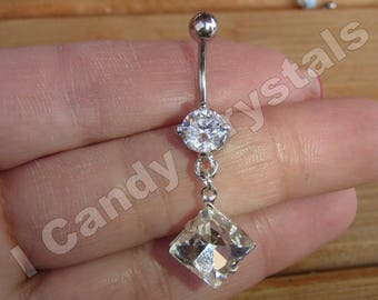 Crystal Dangle Belly Button Ring 14 Gauge