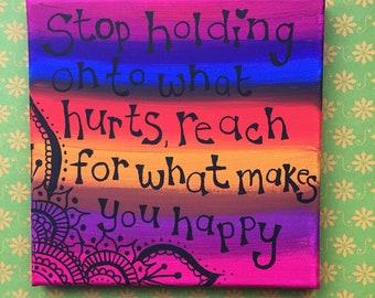 Rainbow positivity canvas, word art painting, encouraging words, bohemian wall art