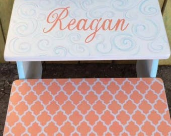 Kids Step Stool, Wooden, Bathroom Stool, Coral, Teal, Grey, Personalized, Childrens, Benches