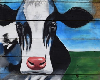 NEW! 11x14 Moo cow Blue cow. PRINT