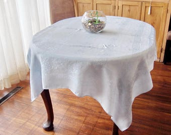 Silky Blue Damask Tablecloth Vintage Roses and Hearts 50 x 60
