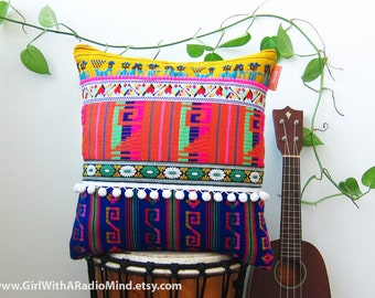 Mexican Pillow Rainbow - Vibrant Colorful Tribal Decorative Cushion Cover Aztec