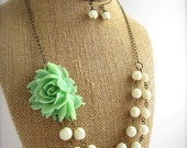 50% Sale Mint Green Statement Necklace Beaded Flower Necklace Double Strand Rustic Wedding Jewelry Mint Bridesmaid Jewelry Set