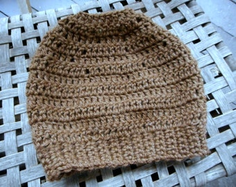 The Wild Hawk Messy Bun Beanie Hat. Crocheted Yarn dark tan Brown Ponytail cap