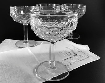 4 Vintage Champagne Glasses Coupe Glasses Glassware Fostoria American Stemware