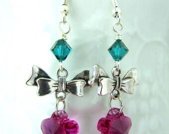 Flower Earrings Fuchsia Earrings Swarovski Earrings Beaded Earrings Bow Earrings Drop Earrings Dangle Earrings Free US Shipping