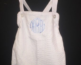 Monogrammed Baby Boys Sun Suit with Criss Cross Back