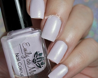 "Nail polish - ""Fragile Times"" pale pink creme with gold shimmer"