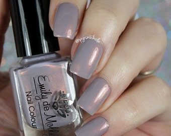 "Nail polish - ""Path of Travel"" pale grey creme with copper shimmer"